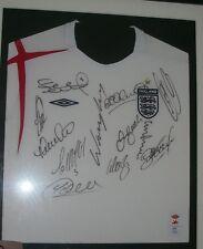 England shirt signed by Beckham Rooney Gerrard Lampard Owen Campbell etc *RARE*.