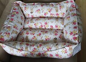 NEW Medium Dog Bed by HOUND HOME - 63 x 53 x 23cm Pink dog print Madison Park