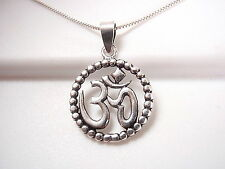 Ohm Necklace w/ Silver Bead Dotted Perimeter Sterling Silver Corona Sun Jewelry
