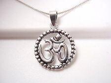 Ohm Pendant w Silver Bead Dotted Perimeter Sterling Silver Corona Sun Jewelry Om