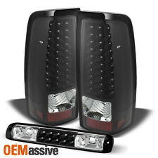 For 03-06 Silverado 04-06 Sierra Black LED Tail Lights + 3Rd Brake Cargo Light