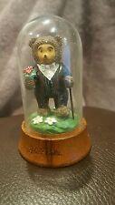 Figurine Robert Raikes Teddy Bear Tyrone Applause Glass Dome Miniature Groom