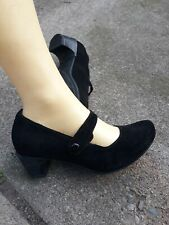 WOLKY BLACK SUEDE LEATHER MARY JANE SHOES LADIES SIZE 38