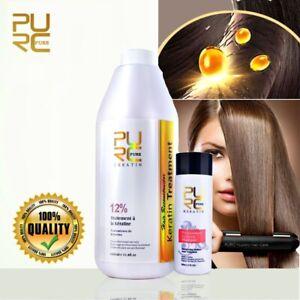 PURE 12 % Brazilian Keratin 1000ml Hair Straightening Repair Treatment + Shampoo