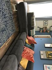Dwell Large L Shaped Corner Sofa in Mocha/Grey Fabric. Designer- Dwell Verona