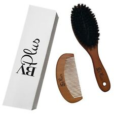 Boar Bristle Hair Brush and Comb Set Natural Wooden Handle For Women and Men