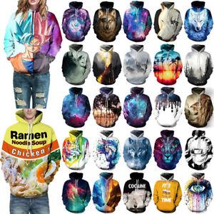 Herren Damen 3D Grafik Hoodie Sweatshirt Kapuzenpullover Pulli Sweater Xmas Tops