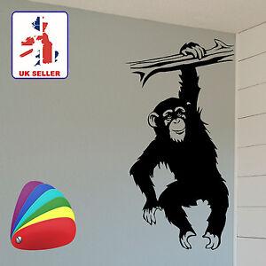 Funny Hanging Monkey / Chimpanzee Wall Art Sticker for Walls, Doors, Cars etc