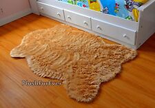 Camel Tan 3' x 5' Faux Fur Throw Rug Sheepskin Pelt Carpet Suede Backing Nonslip