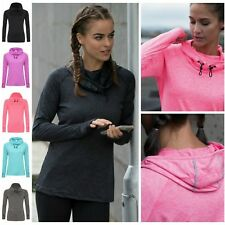 Ladies Cowl Neck Long Sleeve Running Training Sports Hooded Top Thumb Holes