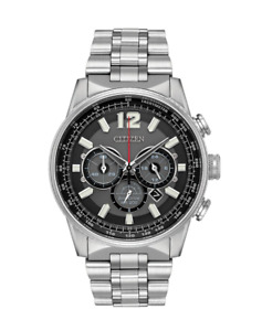Citizen Eco-Drive Men's Nighthawk Chronograph Silver-Tone 43 mm Watch CA4370-52E