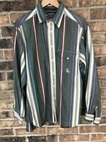 Vintage Nautica Color Block Vertical Stripe Long Sleeve Rugby Shirt Large