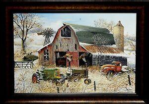 Ray Mertes Rustic Retreat ORIGINAL Oil Painting Pheasant Farm John Deere Print