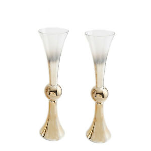 """2 pcs 30"""" tall Ombre Gold Reversible Trumpet Glass Wedding Vases Supplies Party"""
