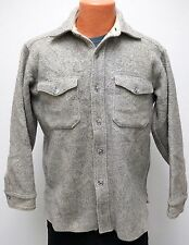 vtg LL Bean GRAY TWILL Flannel Shirt Fits MED Wool 50s/60s Men M made usa