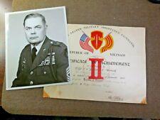 1965 Vietnam War Us Army Republic of Vietnam Certificate of Achievement Named