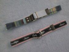 (Lot of 2) Kids Boys D-Ring Belts, Shark Design, Cotton & Canvas Plaid, Size S M