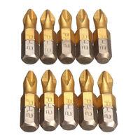 "10Pcs Titanium Coated 1/4"" Hex Shank PH2 Anti-Slip Electric Screwdriver Bits Kit"