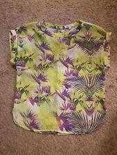 Jennifer Lopez Blouse Tropical Print Purple & Green Womens Size Small Preowned