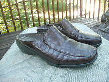 Mephisto Slipon Womens Shoes Clogs Comfort Air Brown Croco Leather Portugal 9M