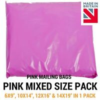 Mixed Pack of Pink Coloured Mailing Bags - Plastic Mail Postage Poly Packaging