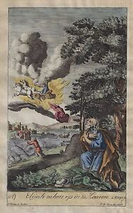 Blome's Antique Print - ELIJAH TAKEN UP IN TO HEAVEN - H-Col. Engraving  -1701