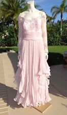 LILLIE RUBIN PINK EMBELLISHED SHEER SLEEVES LAYERS PLEATED SILK GOWN DRESS Sz 14