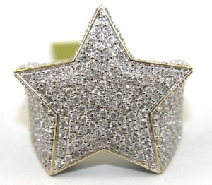 Round Diamond Cluster Star Hip Hop Men's Ring Band 14k Yellow Gold 5.00Ct