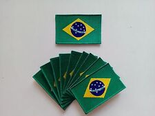 """10 Brazil Brasil Flag Embroidered Patches 3.5""""x2.25"""" iron-on"""