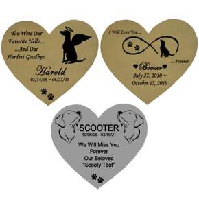 Dog Name Plate Engraved Memorial Heart Shape Pet Loss - Gold or Silver - 2 Sizes
