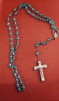 "Vintage Green Glass Bead ""Virgin Mary"" Catholic Rosary Last Rites Odd Oddities"
