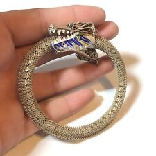 CHINESE EXPORT SILVER-GILT ENAMEL BRACELET JEWELRY DRAGON Filigree Coil