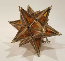Hanging Star Candle Lantern Moroccan Style Brass and glass