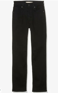 Levi's Premium 724 High Rise Straight Crop Black Jeans Size 31 x 26