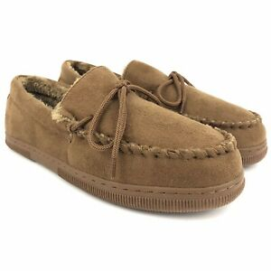 Oxford & Finch Slippers Mens Size 11 Hickory Brown Faux Fur Rubber Sole Moccasin