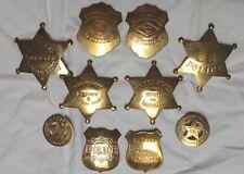 10 (TEN) Assorted Old School Replica BRASS Badges Badge Star LAW Shield! 10A