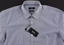 Men's HUGO BOSS White Navy Blue Striped Short Sleeve S/S Shirt Medium M NWT NEW