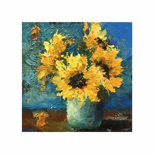 Original Acrylic Painting On Canvas 3x3 Sunflowers Floral Easel Included