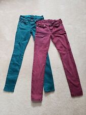 TWO PAIR SEVEN FOR ALL MANKIND ACID WASH WAXED DENIM SKINNY SZ 26 WOMEN'S
