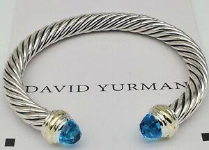 David Yurman  Sterling Silver 7mm W/ Blue Topaz and 14K gold bracelet Sz M