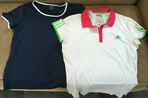 2 tennis racquet sports tops women sz L, Adidas Barricade Climalite Reebok, MINT