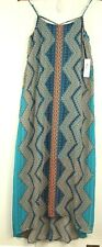 Bisou Bisou NWT Womens Geometric Blue Green Thin Straps Hi Low Long Dress Sz 2