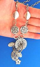 """Floral Rhinestone Link Silver Y Necklace 3x15-18"""""""