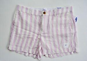 New Old Navy Pink Stripe Women's Size 10 Linen Blend Everyday Shorts