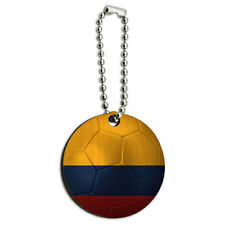 Colombia Flag Soccer Ball Futbol Football Wood Wooden Round Key Chain