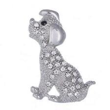 on Card Cute Sitting Puppy Dog Silver Metal & Clear Crystal 4cmx2cm Brooch