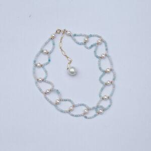 169#Luxury lace design 2.5mm Morganite W/Pearl necklace/choker W/pearl Pendant