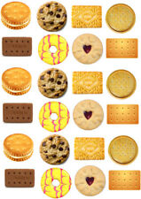 Biscuits Jammy Dodger Rich Tea Theme Edible Cupcake Cake Wafer Toppers x 24