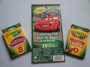 CRAYOLA  CARS COLORING PAD &TWO BOXES 8 CRAYONS STOCKING  STUFFER