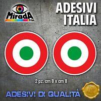 Adesivi / Stickers  ITALIA ITALY FLAG BANDIERA TONDO MOTO AUTO 2 PZ. TOPQUALITY